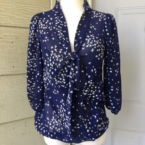 Max Studio Navy Blue Blouse with 3/4 Sleeves